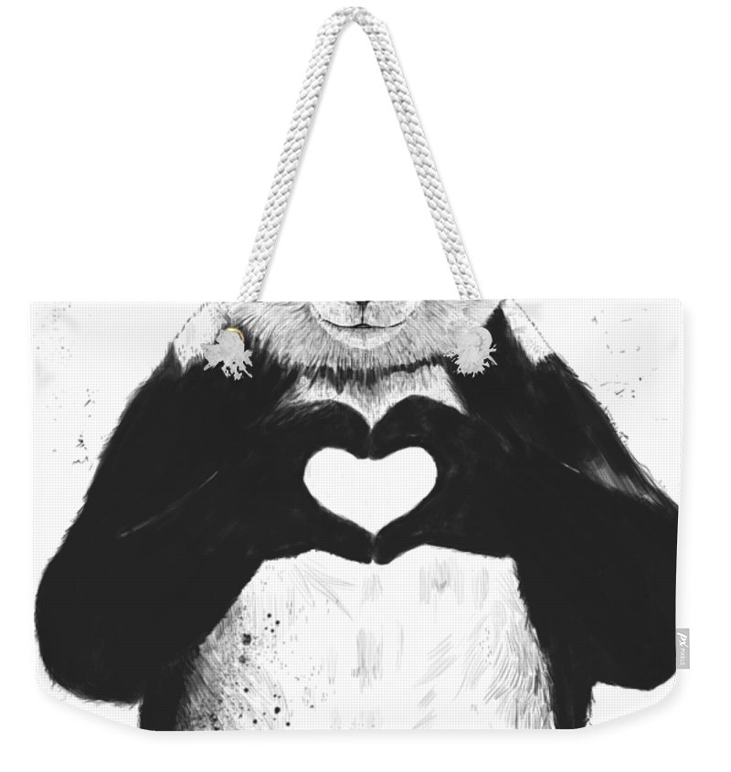 Panda Weekender Tote Bag featuring the mixed media All You Need Is Love by Balazs Solti