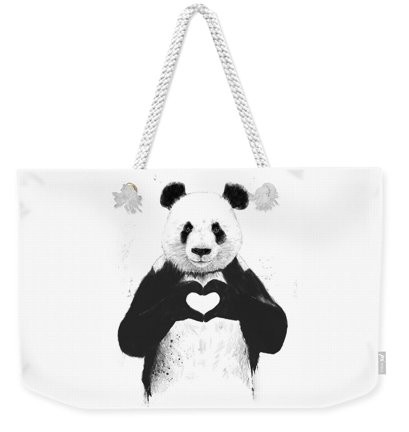 Panda Weekender Tote Bag featuring the painting All you need is love by Balazs Solti