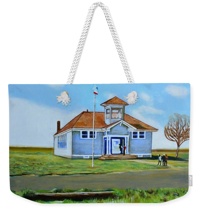 Buildings; School; Landscape; African American Community; Historical State Park; Weekender Tote Bag featuring the painting Allensworth School by Howard Stroman