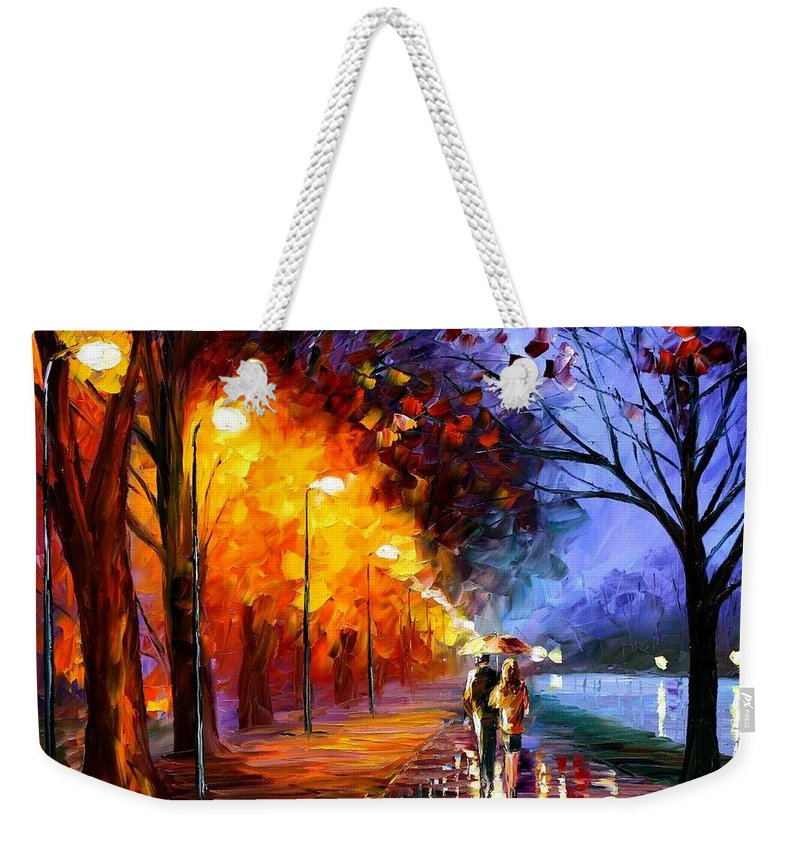 Afremov Weekender Tote Bag featuring the painting Alley By The Lake by Leonid Afremov