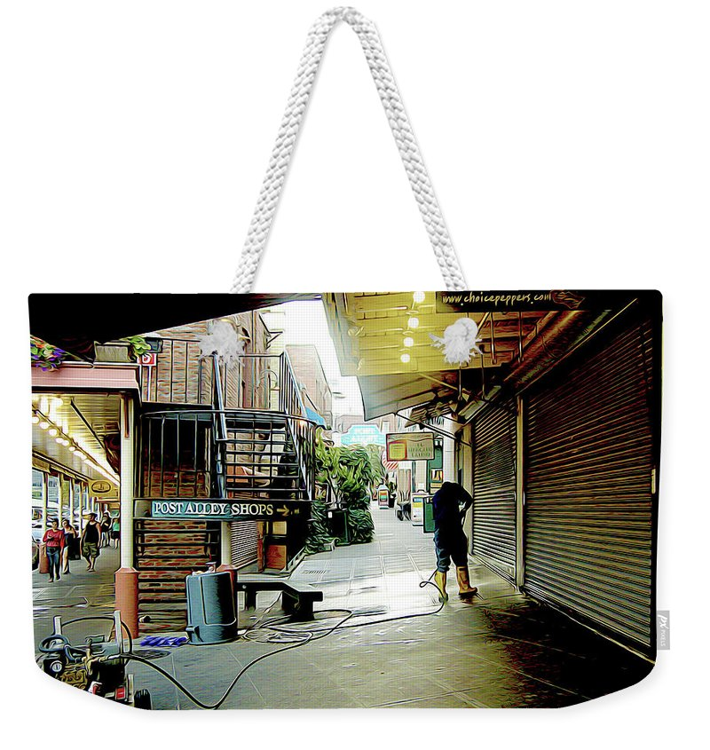 Sanitary Market Weekender Tote Bag featuring the photograph Alley Market End Of Day by Linda Carruth