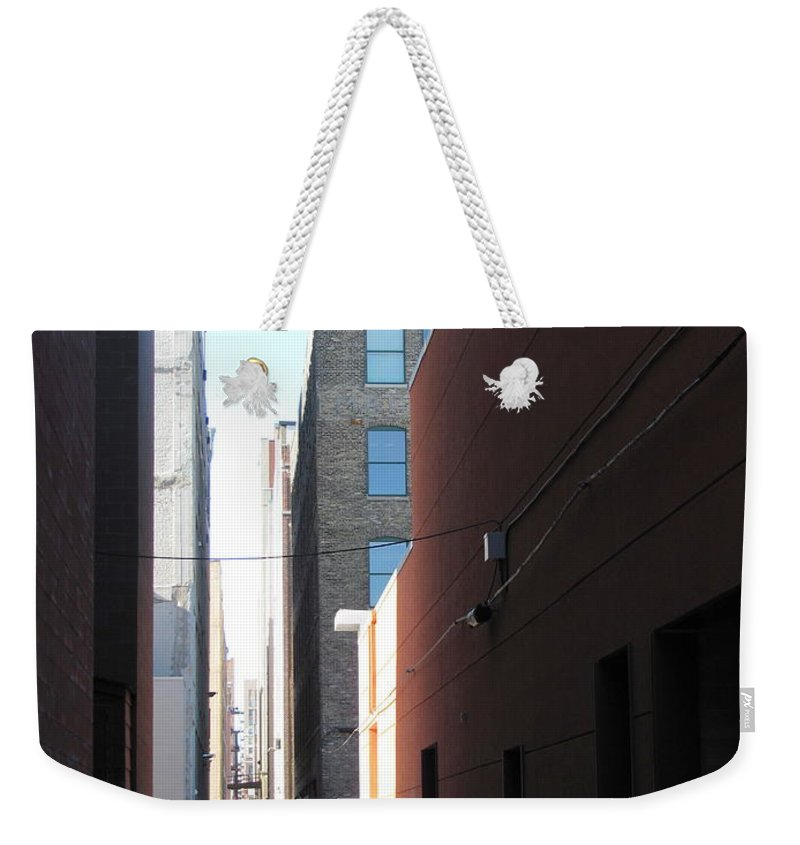 Milwaukee Weekender Tote Bag featuring the photograph Alley Photo 1 by Anita Burgermeister