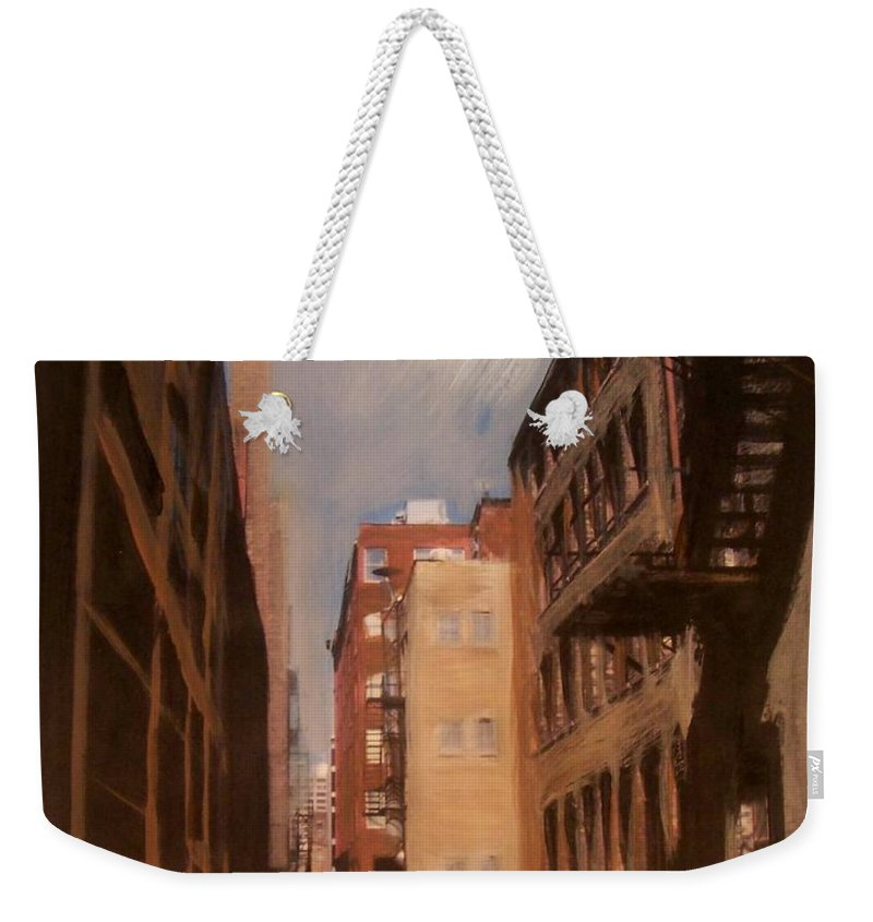 Alley Weekender Tote Bag featuring the mixed media Alley Series 1 by Anita Burgermeister