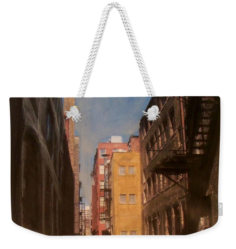 Alley Weekender Tote Bag featuring the mixed media Alley Series 2 by Anita Burgermeister