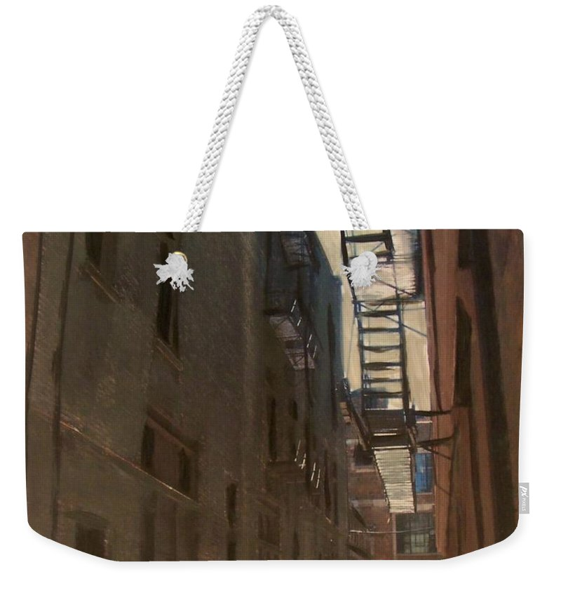 Alley Weekender Tote Bag featuring the painting Alley Series 5 by Anita Burgermeister