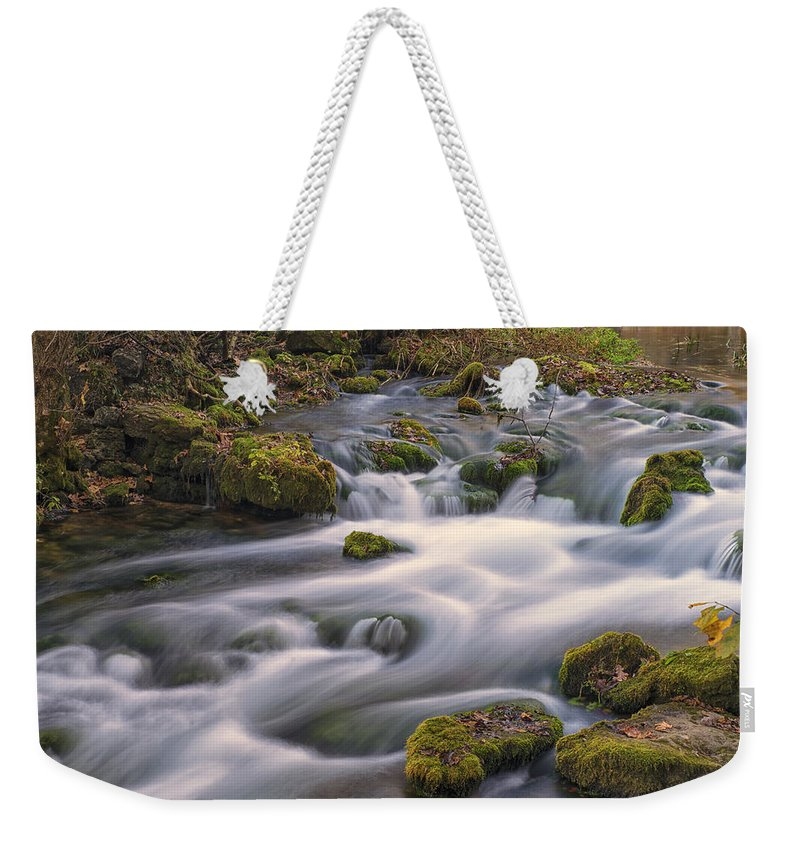 Missouri Weekender Tote Bag featuring the photograph Alley Spring Rapids Fall Mo Dsc09212 by Greg Kluempers