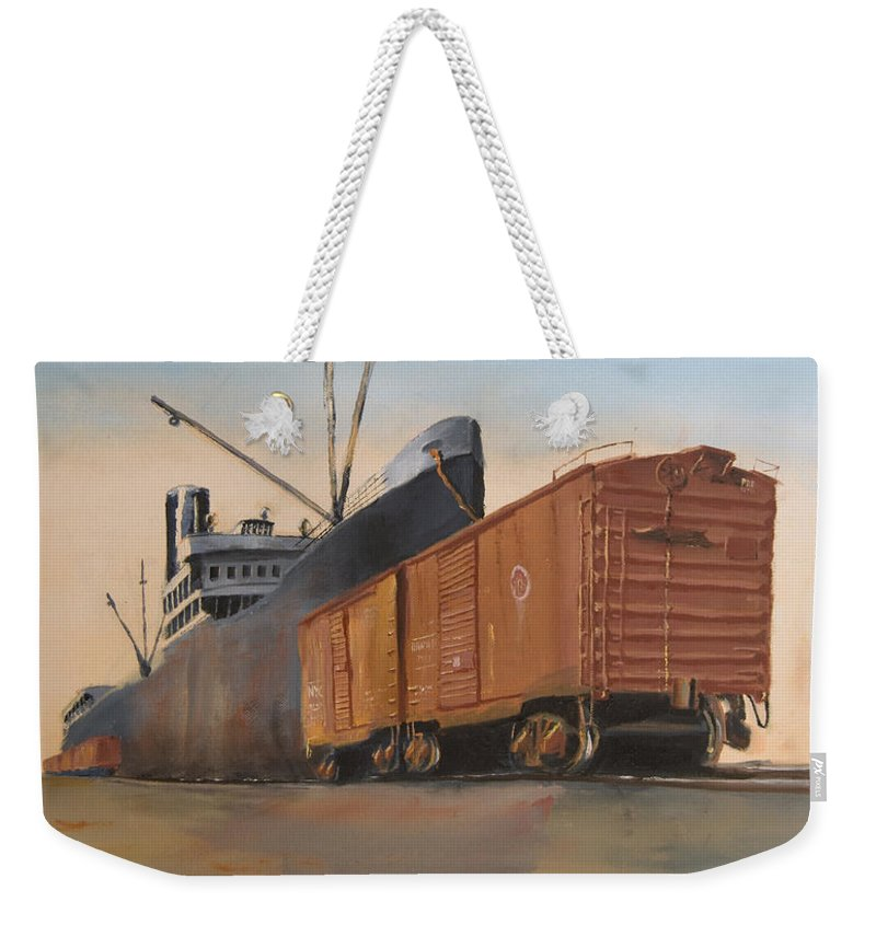 Ship Weekender Tote Bag featuring the painting Allied Orient Lines by Christopher Jenkins