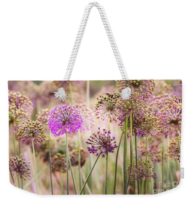 Abstract Weekender Tote Bag featuring the photograph Allium Flowers by Joe Mamer