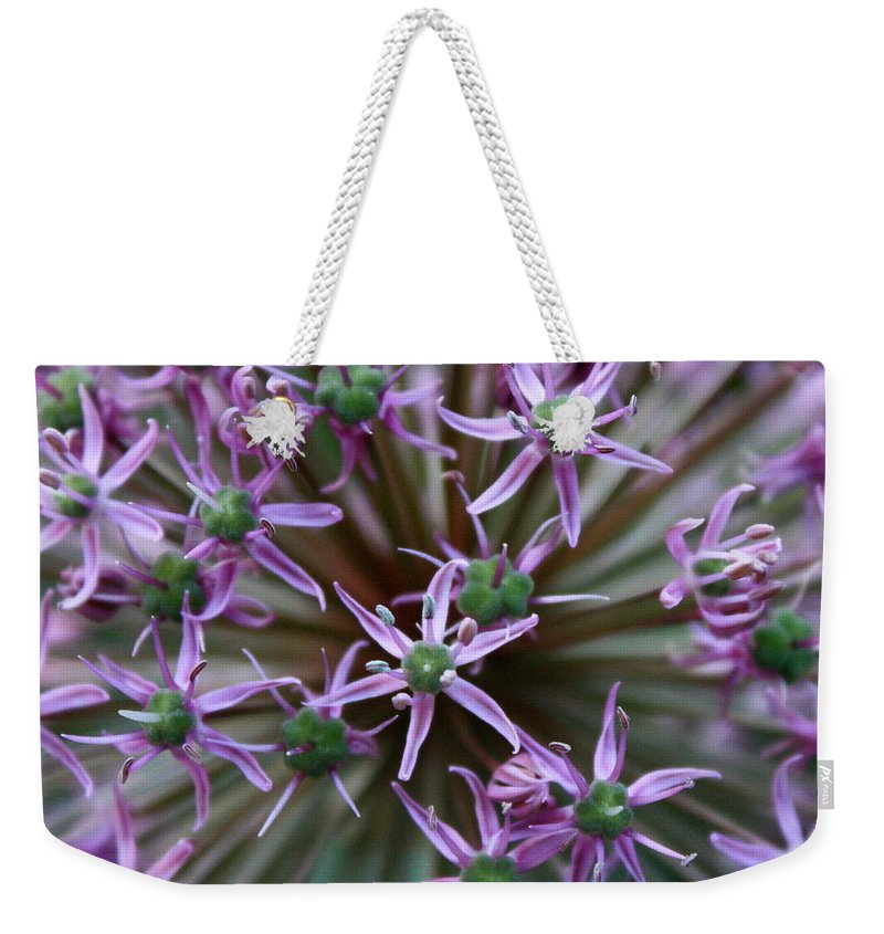 Nature Macro Weekender Tote Bag featuring the photograph Allium Macro by Carol Groenen