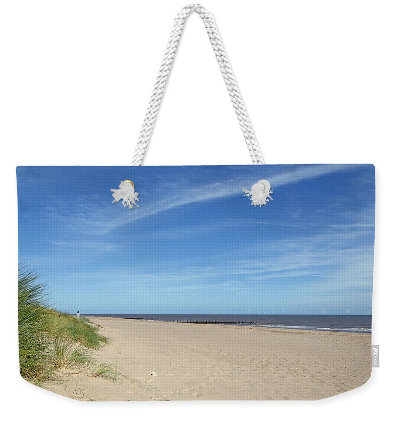 Skegness Weekender Tote Bag featuring the photograph Almost Deserted Beach At Skegness by Rod Johnson