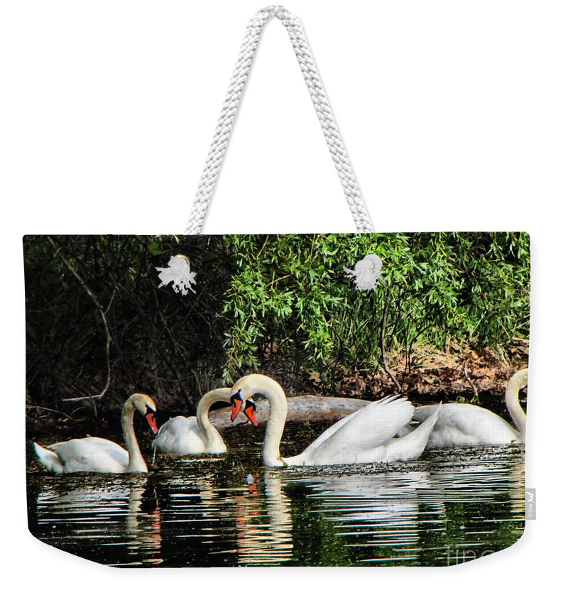 Swans Weekender Tote Bag featuring the photograph Almost by September Stone