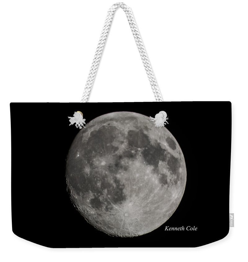 Almost A Full Moon Photograph Weekender Tote Bag featuring the photograph Almost Full Moon by Kenneth Cole