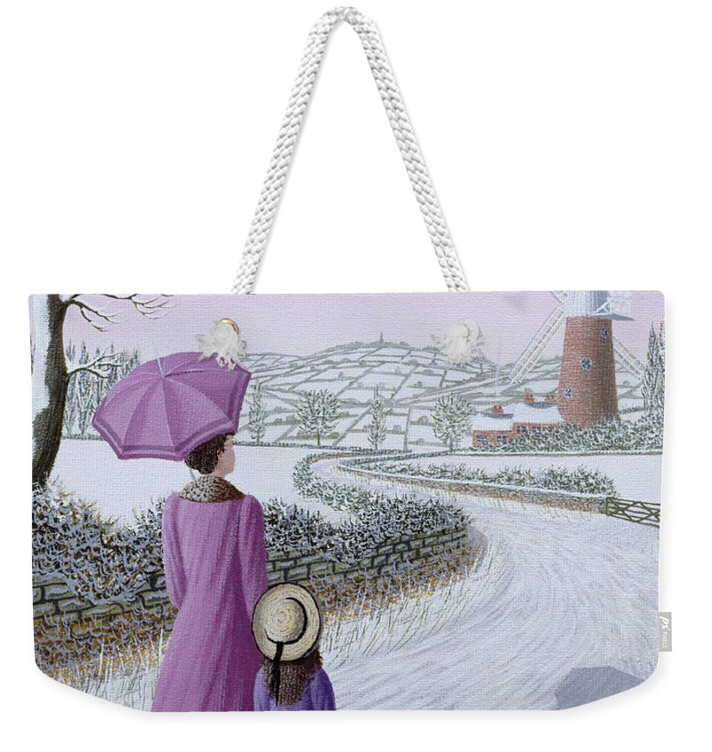 Naive; Landscape; Windmill; Shadow; Umbrella; Parasol Weekender Tote Bag featuring the painting Almost Home by Peter Szumowski