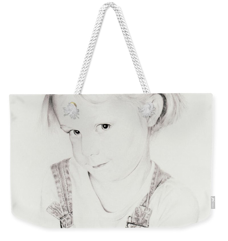 Portrait Weekender Tote Bag featuring the drawing Almost Perfect by Rachel Christine Nowicki