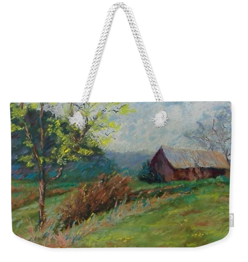 Landscape Weekender Tote Bag featuring the pastel Almost Spring by Pat Snook