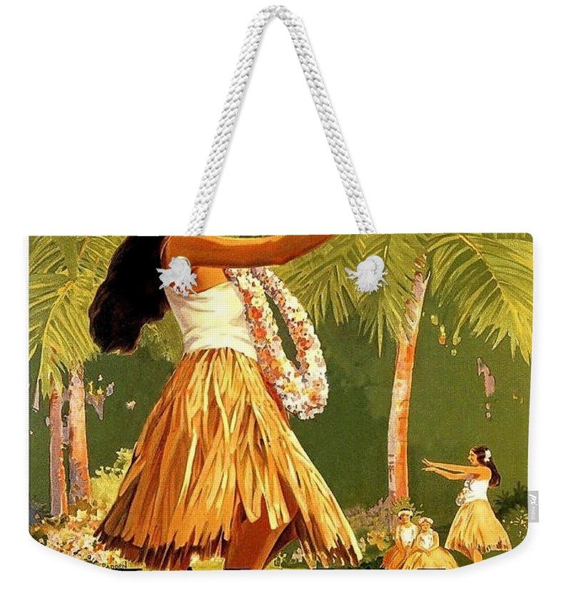 Aloha Weekender Tote Bag featuring the painting Aloha Hawaii, Hula Girl Dance by Long Shot