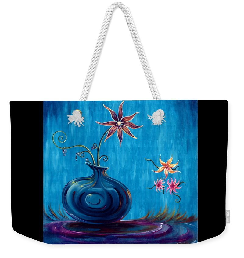 Fantasy Floral Scape Weekender Tote Bag featuring the painting Aloha Rain by Jennifer McDuffie