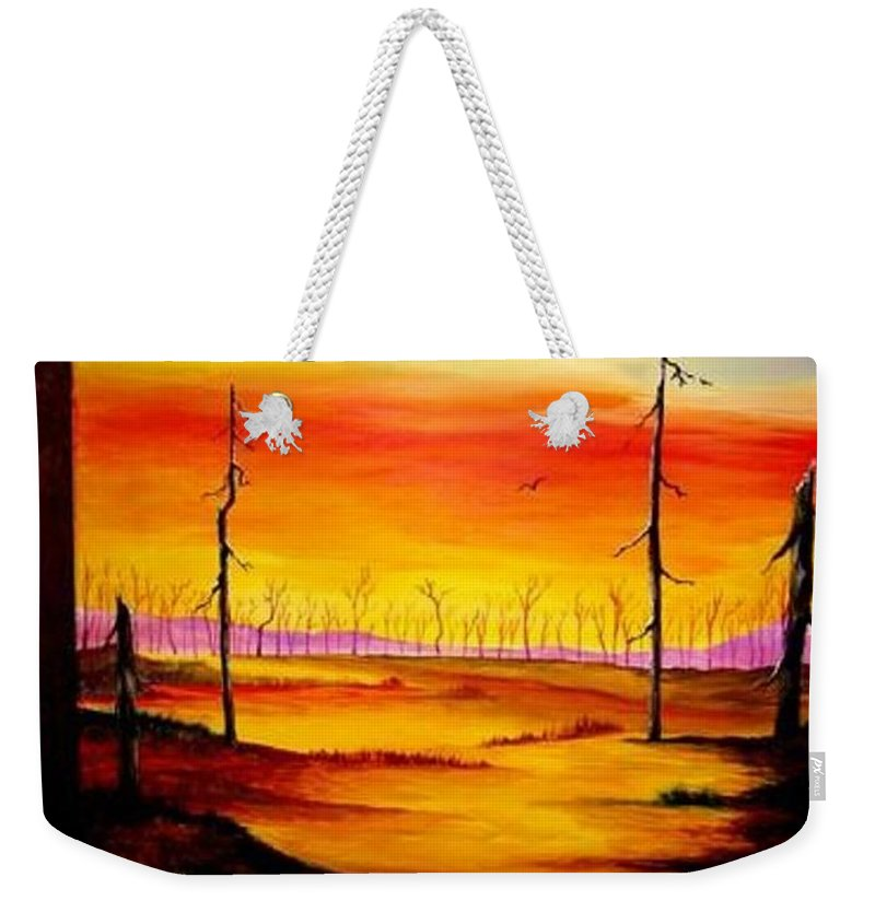 Landscape Weekender Tote Bag featuring the painting Alone by Glory Fraulein Wolfe
