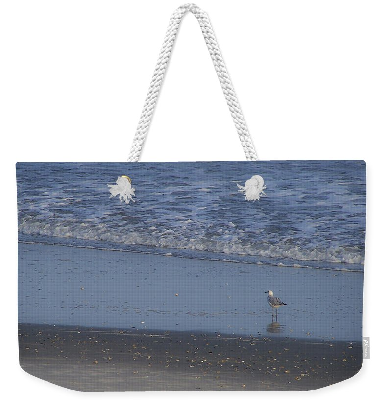 Ocean Weekender Tote Bag featuring the photograph Alone In The Sand by Teresa Mucha