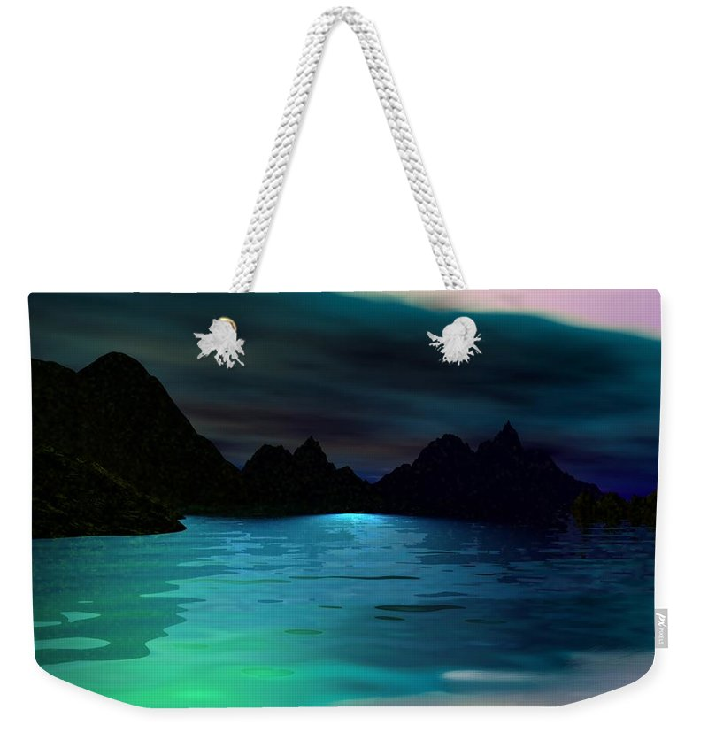 Seascape Weekender Tote Bag featuring the digital art Alone On The Beach by David Lane