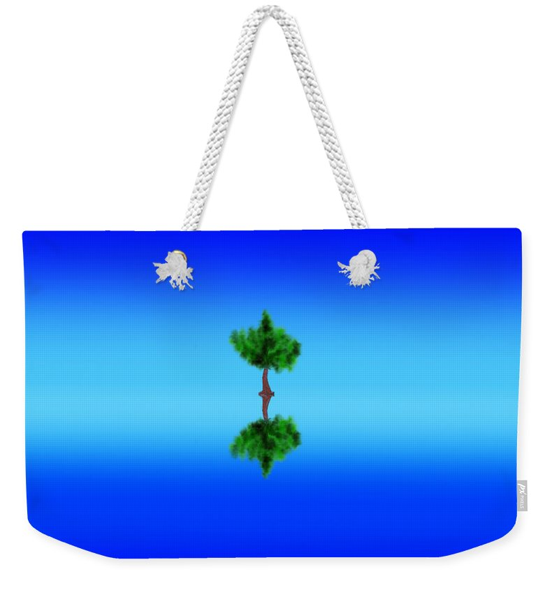 Blue Weekender Tote Bag featuring the digital art Alone by Unique Feathers