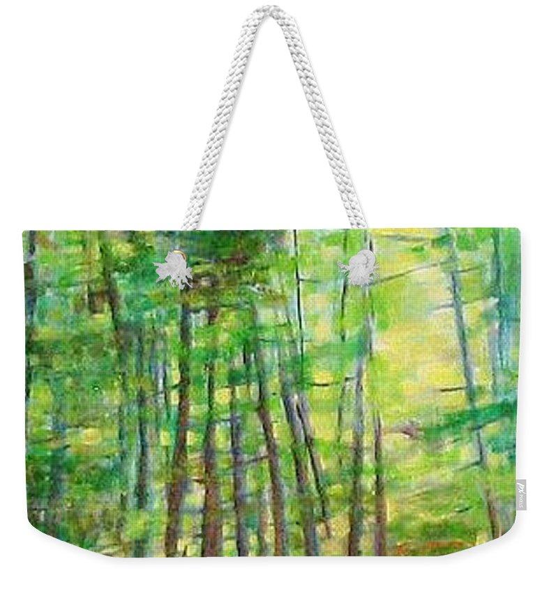 Landscape Weekender Tote Bag featuring the painting Along Buckslide Road by Karen Sloan