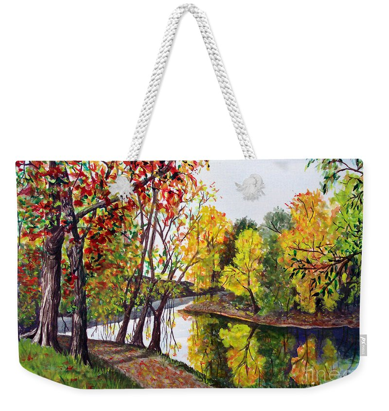 Blanchard River Weekender Tote Bag featuring the painting Along The Blanchard by Nancy Cupp