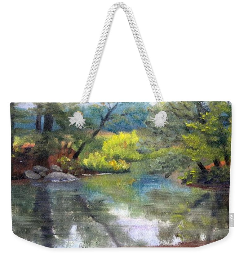 Reflections Weekender Tote Bag featuring the painting Along the Exeter River by Sharon E Allen