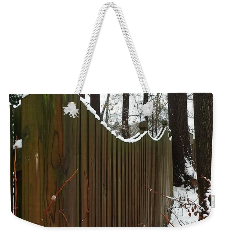 Fence Weekender Tote Bag featuring the photograph Along The Fence by Erica Degni