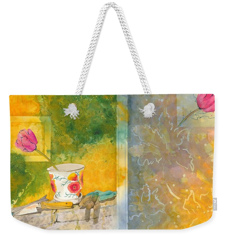 Garden Weekender Tote Bag featuring the painting Along The Garden Wall by Jean Blackmer