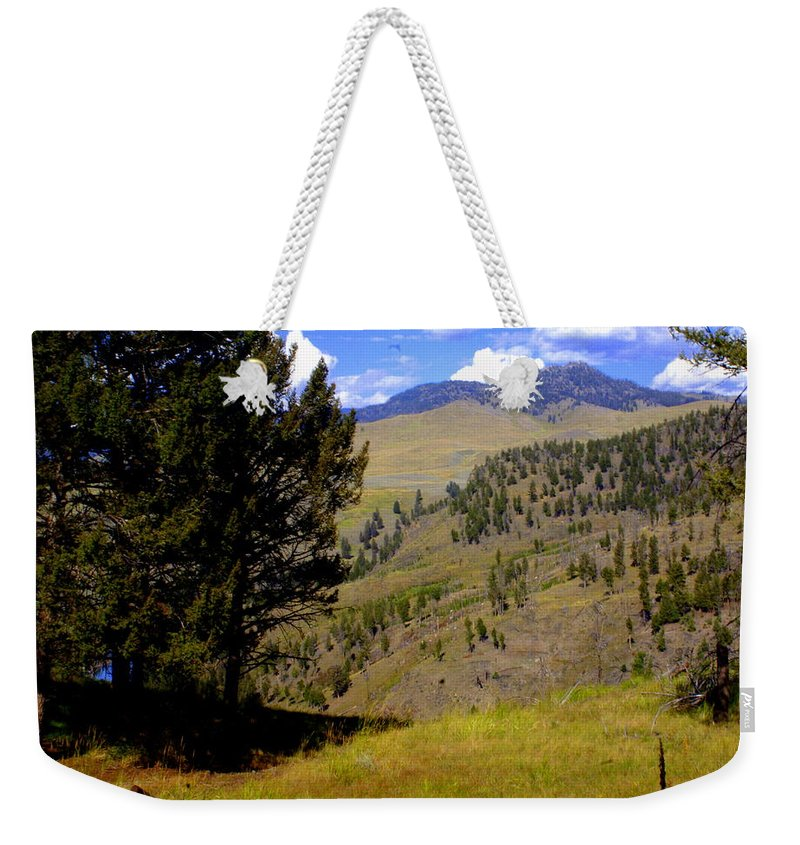 Yellowstone National Park Weekender Tote Bag featuring the photograph Along The Hell Roaring Creek Trail by Marty Koch