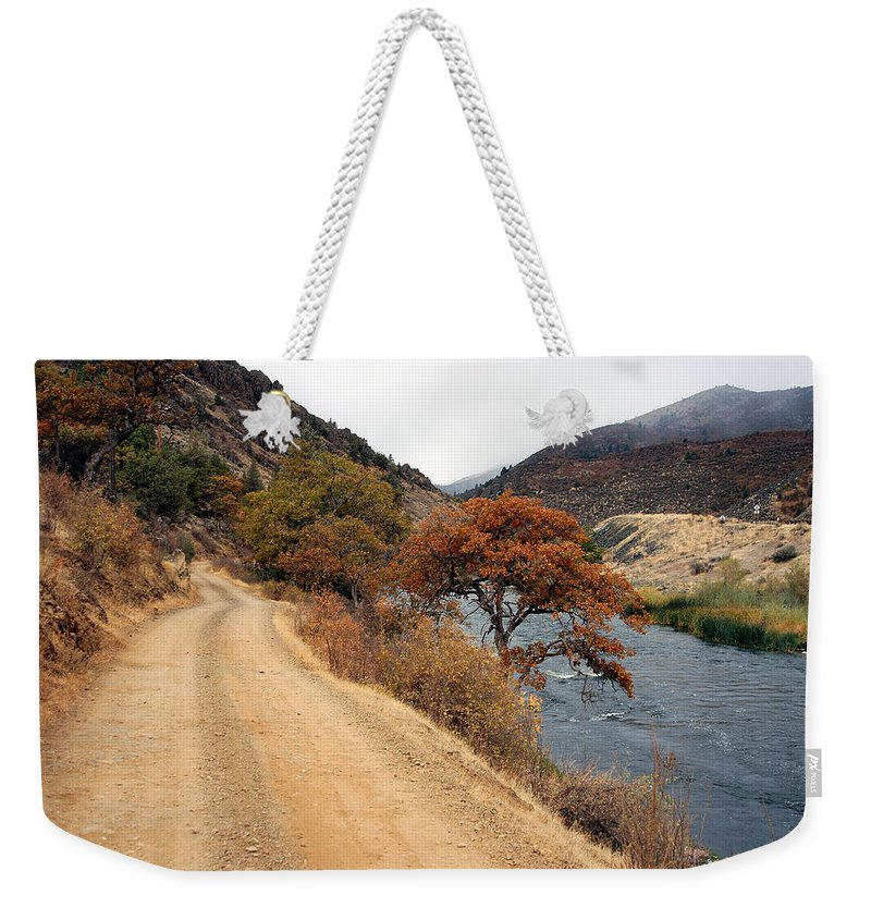 Klamath River Weekender Tote Bag featuring the photograph Along The Kalamath - Oregon by D'Arcy Evans