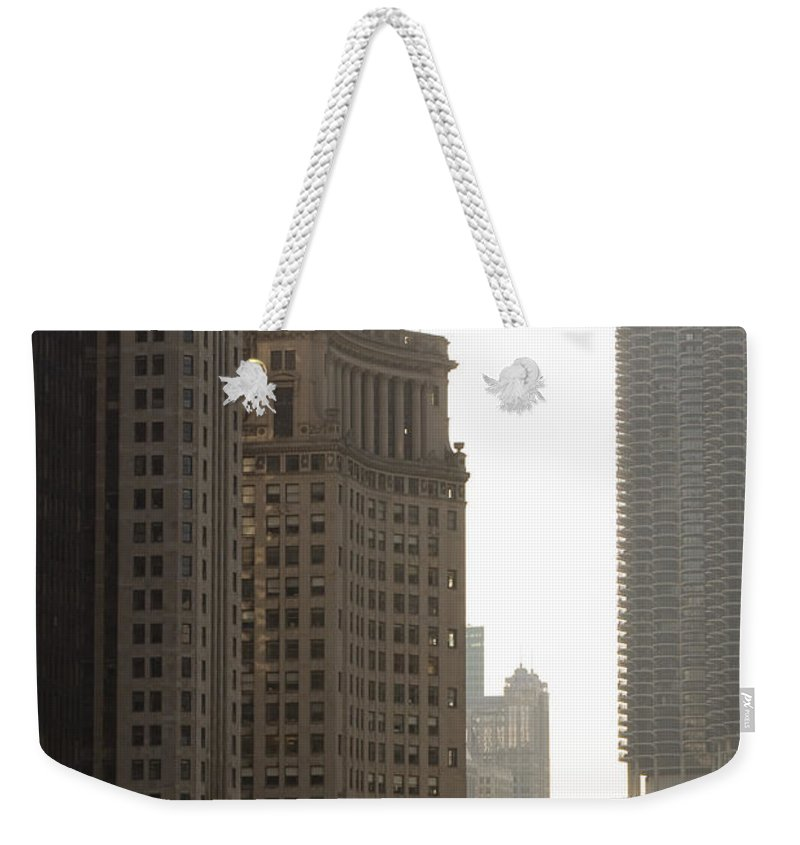 Chicago Windy City River Bridge Building Skyscraper Tall High Big Metro Urban Weekender Tote Bag featuring the photograph Along The River by Andrei Shliakhau