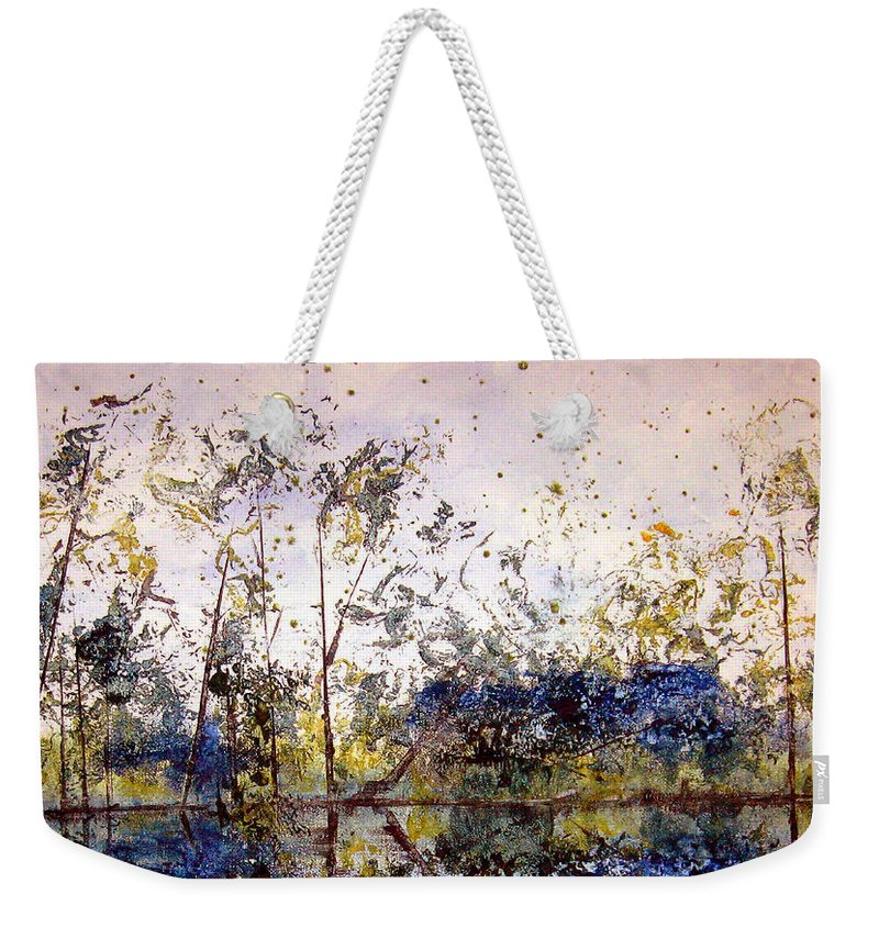 Abstract Weekender Tote Bag featuring the painting Along The River Bank by Ruth Palmer