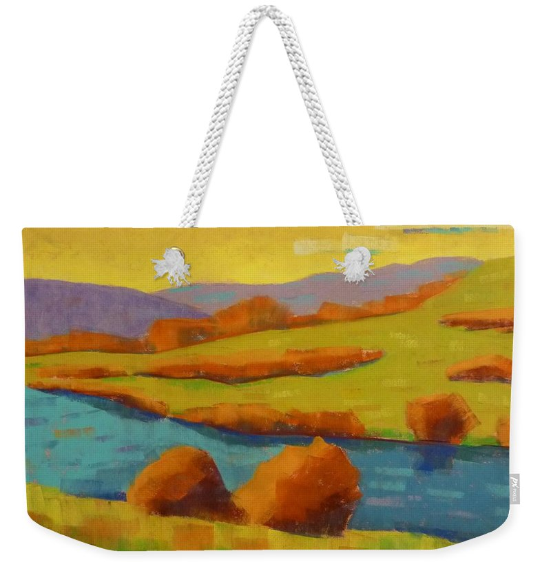 Landscape Weekender Tote Bag featuring the painting Along The River In Steamboat Springs II by Susan Tormoen