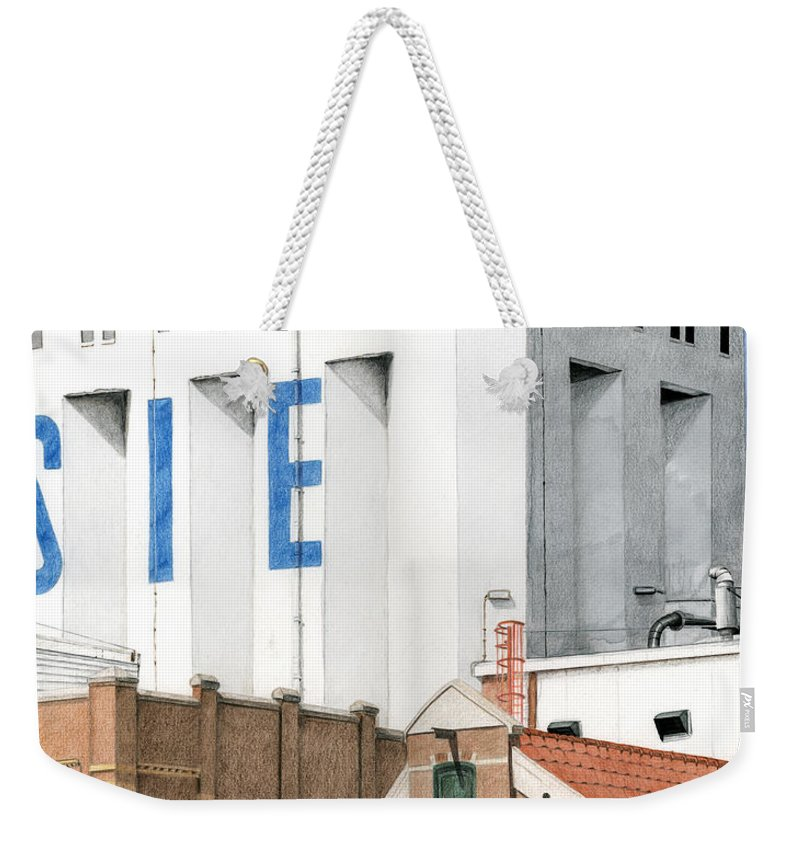 Mixed Media Weekender Tote Bag featuring the mixed media Along The River Zaan Lassie Silo by Rob De Vries