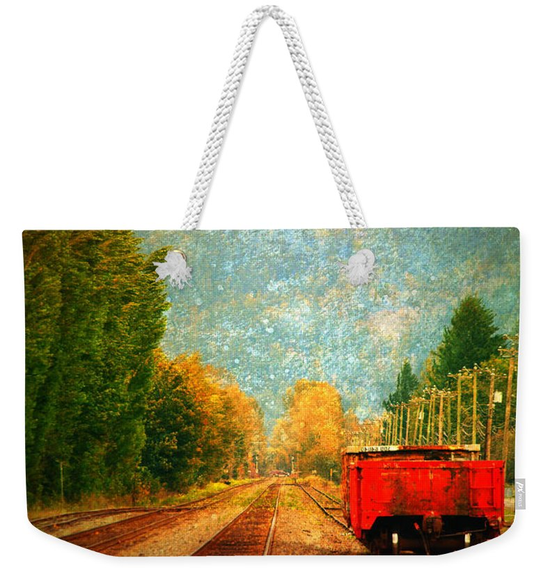 Railway Tracks Weekender Tote Bag featuring the photograph Along The Tracks by Tara Turner