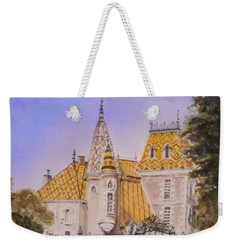 Vineyard Weekender Tote Bag featuring the painting Aloxe Corton Chateau Jaune by Mary Ellen Mueller Legault