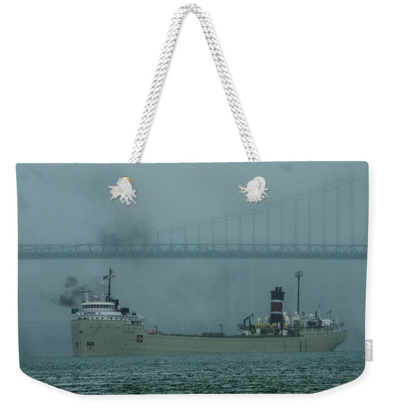 Gales Of November Weekender Tote Bag featuring the photograph Alpena In The Fog by Gales Of November