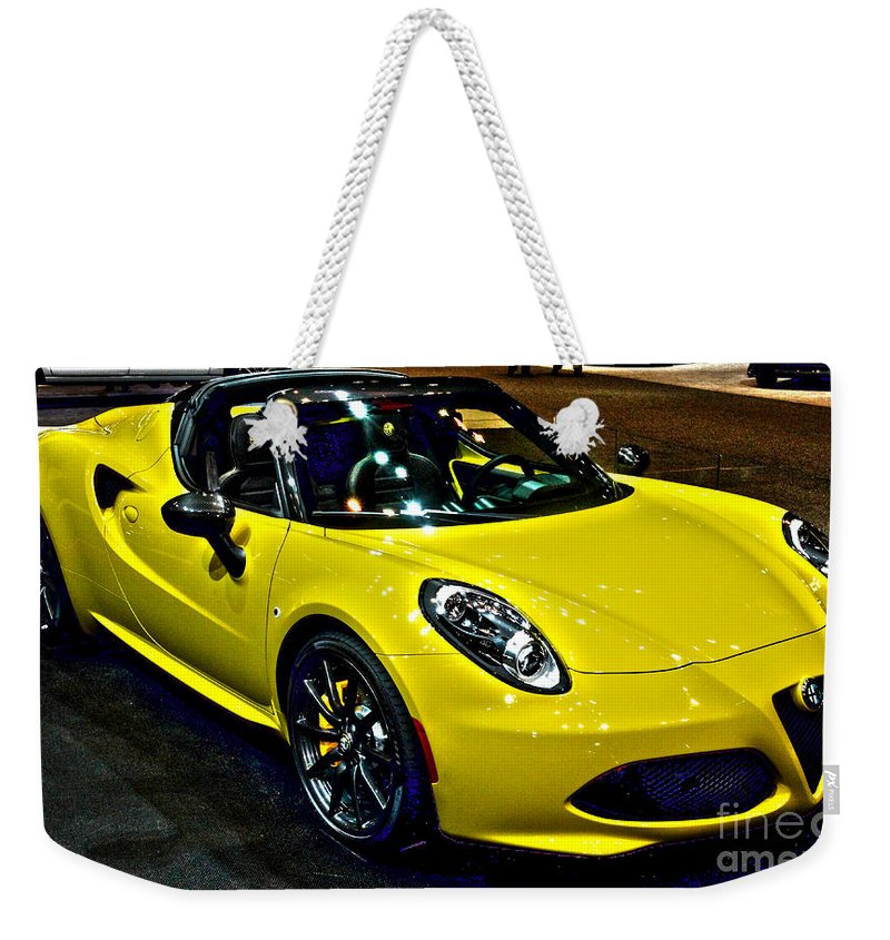 Auto Weekender Tote Bag featuring the photograph Alpha Romeo 4c Spider by Alan Look