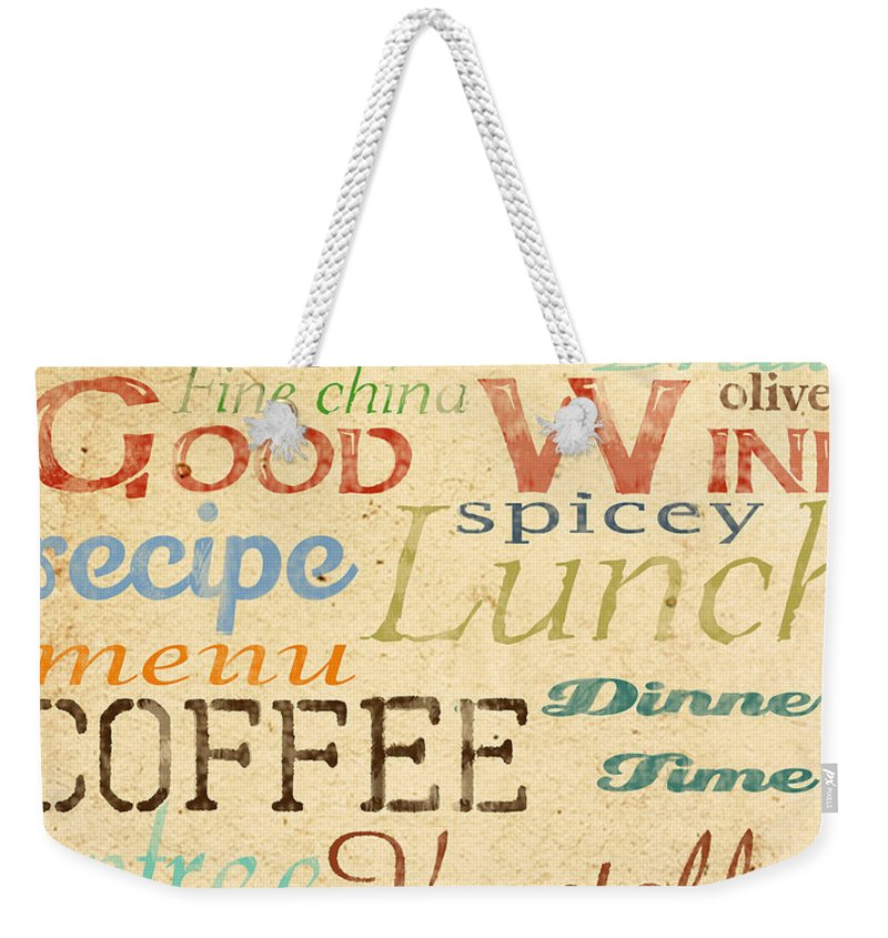 Jean Plout Weekender Tote Bag featuring the painting Alphabet Soup-a by Jean Plout