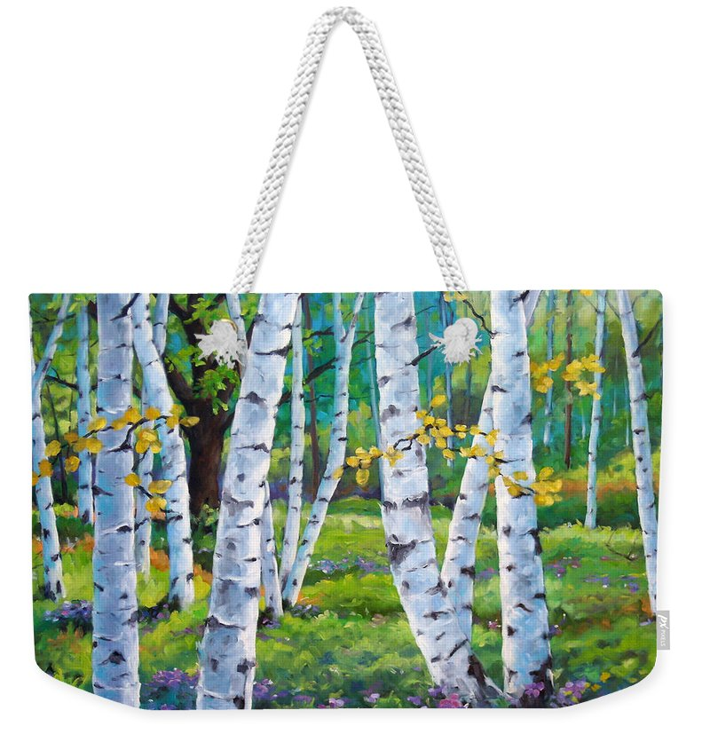 Birche; Birches; Tree; Trees; Nature; Landscape; Landscapes Scenic; Richard T. Pranke; Canadian Artist Painter Weekender Tote Bag featuring the painting Alpine Flowers And Birches by Richard T Pranke