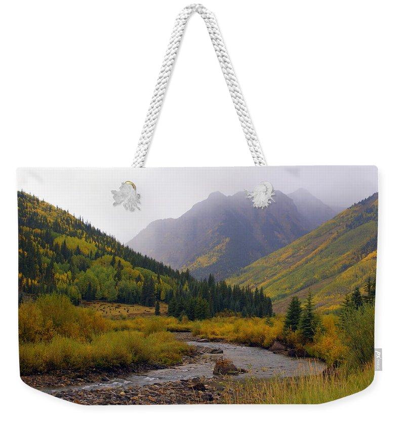 Colorado Weekender Tote Bag featuring the photograph Alpine Loop Road by Marty Koch