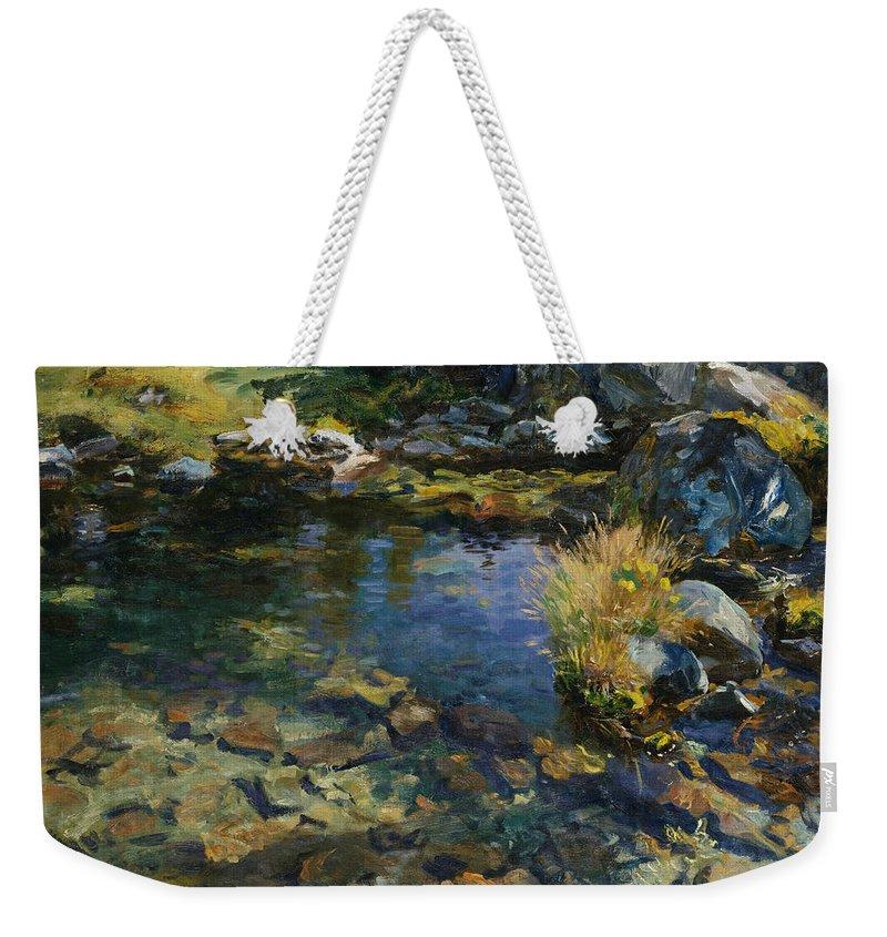 John Singer Sargent Weekender Tote Bag featuring the painting Alpine Pool by John Singer Sargent