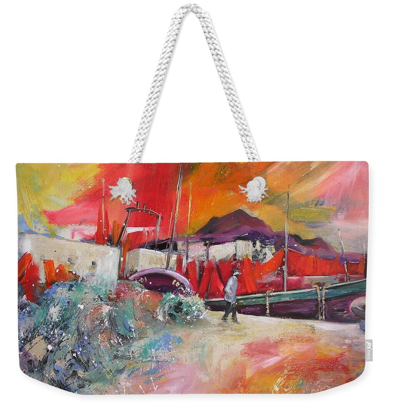 Seascape Painting Altea Spain Harbour Weekender Tote Bag featuring the painting Altea Harbour Spain by Miki De Goodaboom