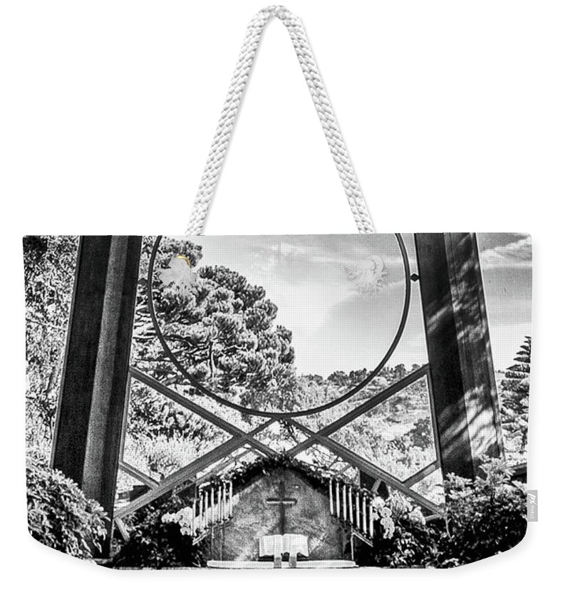 Chapel Weekender Tote Bag featuring the photograph Alter Under Glass by Joseph Hollingsworth