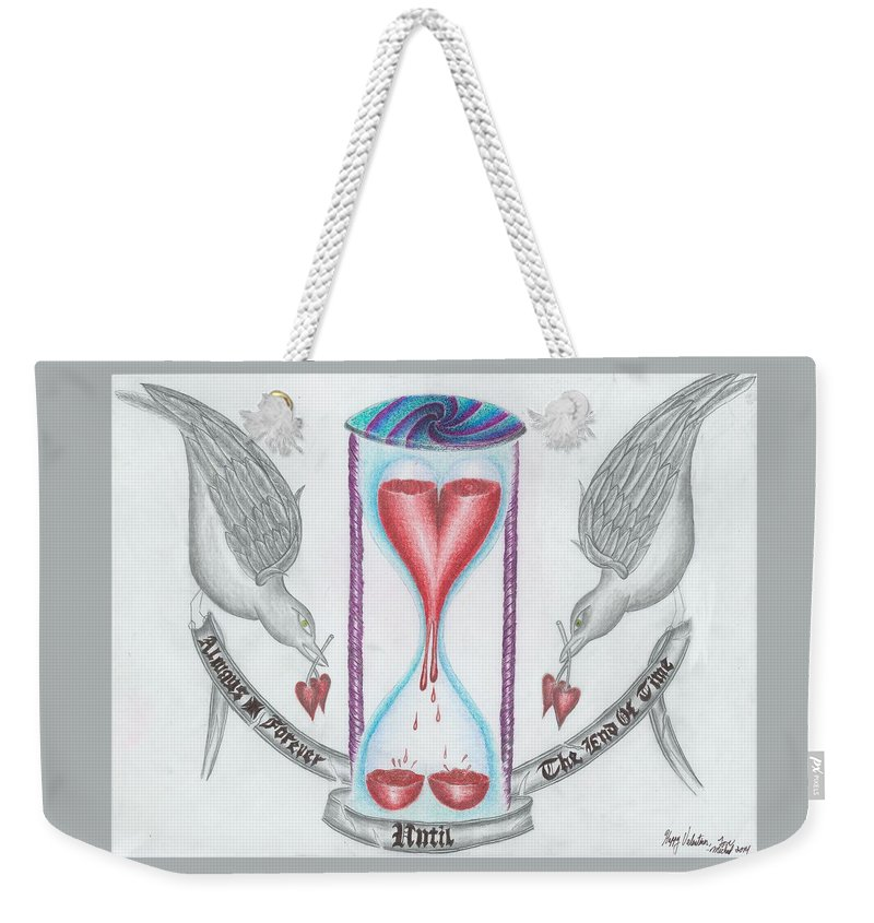 Tattoo Art Weekender Tote Bag featuring the drawing Always Forever by Michael E Kelly