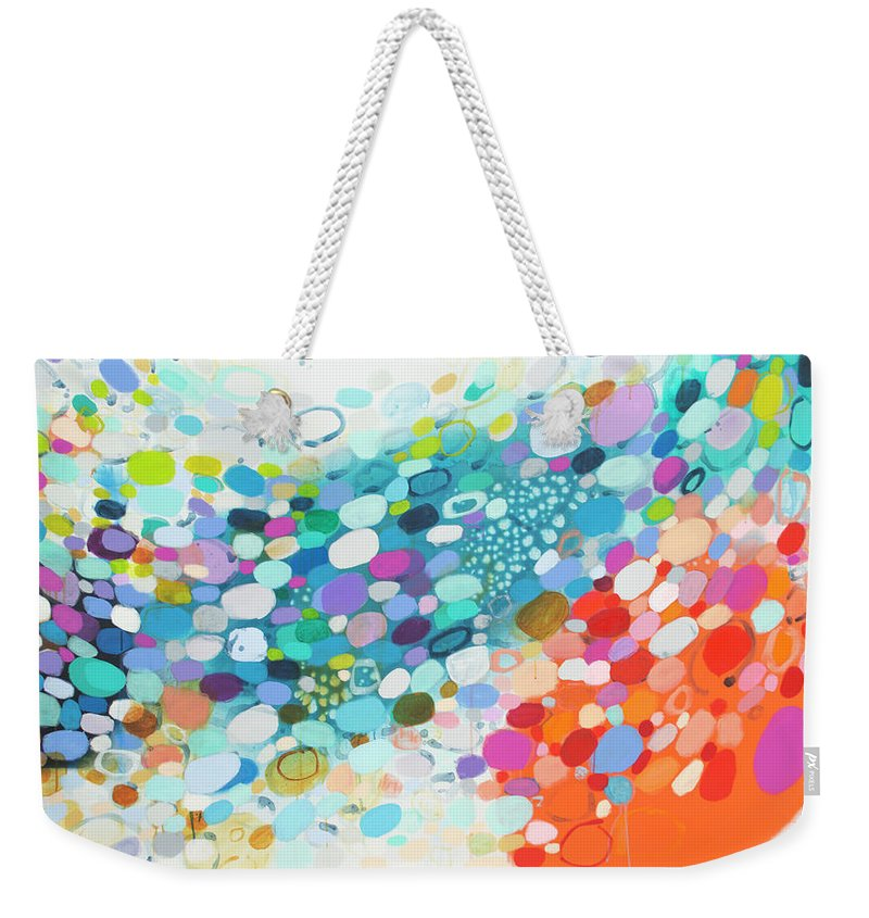 Abstract Weekender Tote Bag featuring the painting Always Looking For True Love by Claire Desjardins
