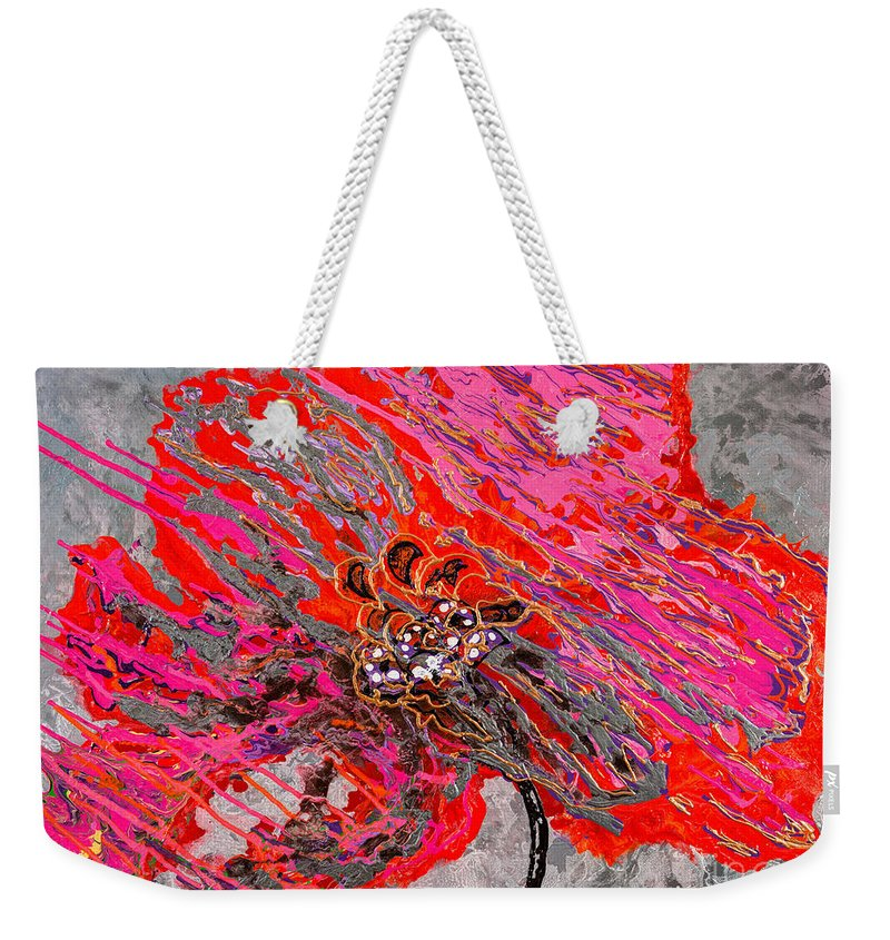 Poppy Weekender Tote Bag featuring the painting Always On The Move by Sheila McPhee