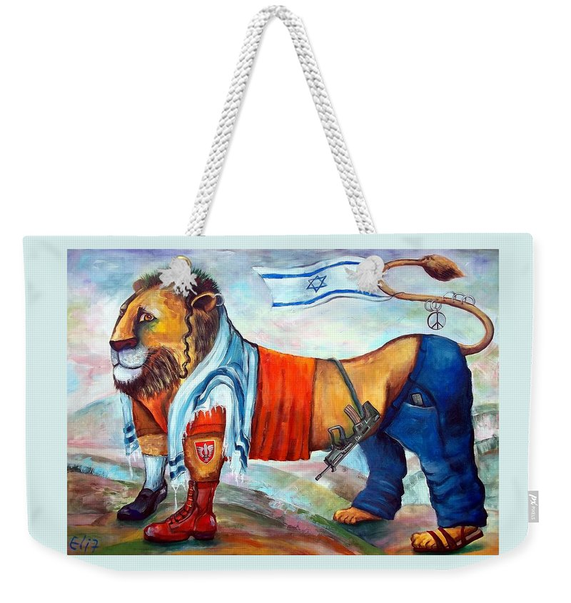 Israelis Weekender Tote Bag featuring the painting Am Israel Hay by Elisheva Nesis